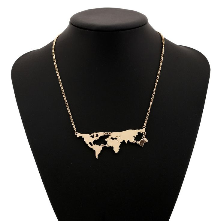 أوروبا والولايات المتحدة اتجاه العالم خريطة المعلقات قلادة المجوهرات بالجملة ، الجديد شخصية خريطة قلادة