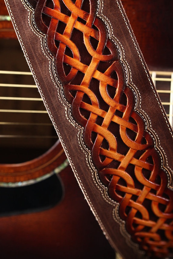 "Guitar Strap: brown leather guitar strap with a celtic design ""Celtic Nation Guitar Strap"". $300.00, via Etsy."