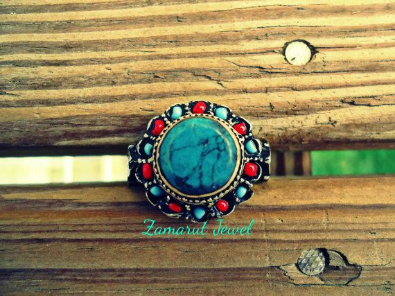 Afghan Turquoise Coral WEDDING Ring Kuchi Afghan Ring-REserved for Mohamed on Etsy, $199.00