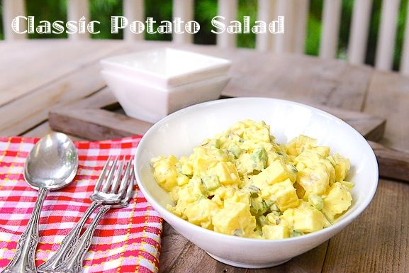 classic potato salad from  good one, just made it.  also added a pinch of Epicure's lemon dilly dip mix