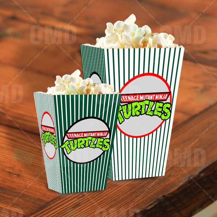 Teenage Mutant Ninja Turtles Cartoon Party Popcorn Boxes