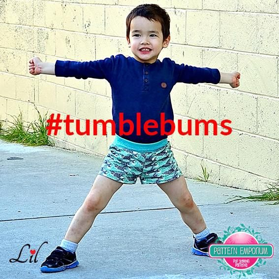 The Tumble Bums are an easy fitting shorts & pants sewing pattern for boys and girls. They are super practical with no side seams, no pockets, nothing fancy; just a great fit, lots of lengths & 4 waistband options. Best of all, they are FAST & EASY TO SEW!!