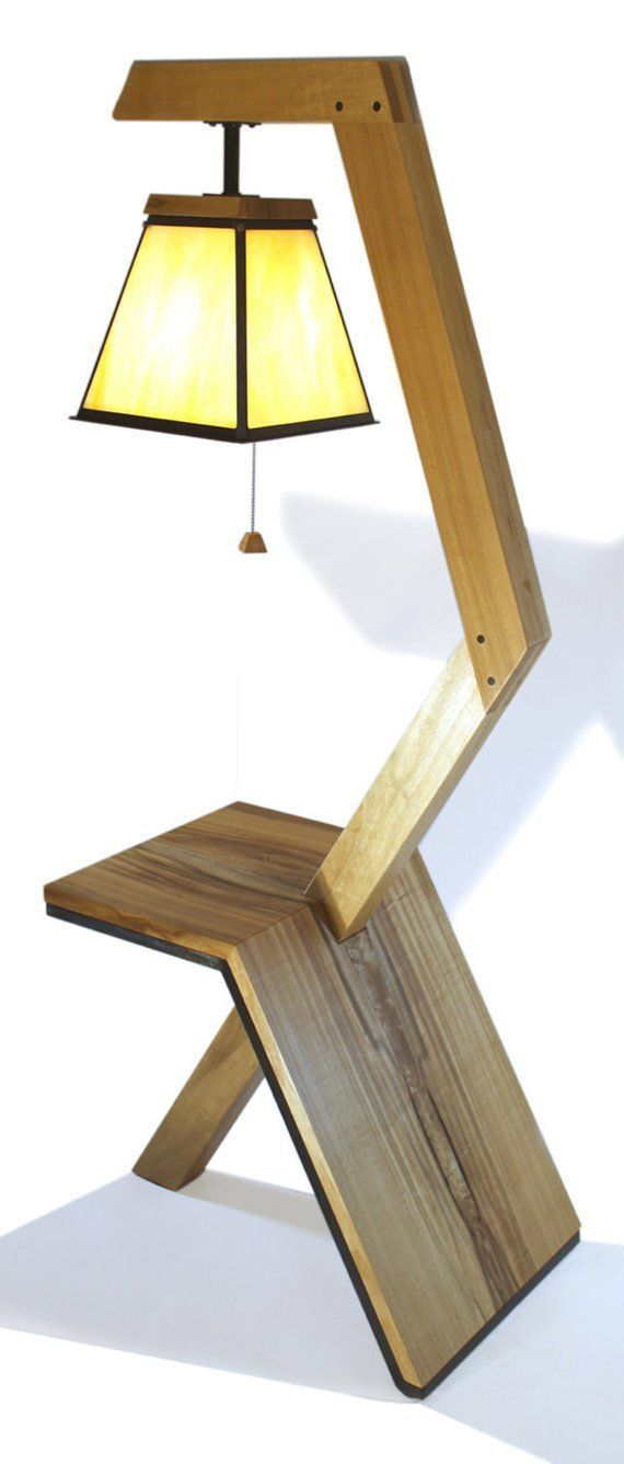 Floor Lamp Table Combo Etsy In 2020 Wood Floor Lamp Floor