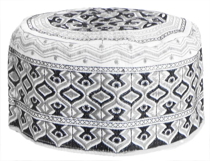 White Muslim Prayer Cap with Black and Grey Embroidery (Cotton Cloth)
