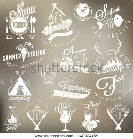 Retro vintage style restaurant menu designs. Set of Calligraphic titles and symbols for restaurant design. Hand lettering style.  Ice Cream. Soft drinks. Mountain Symbols.  Vector. Fast food design. - stock vector
