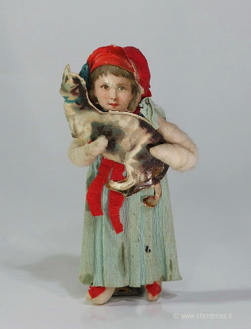 Old Little Girl holding her Cat - Cotton Christmas Ornament