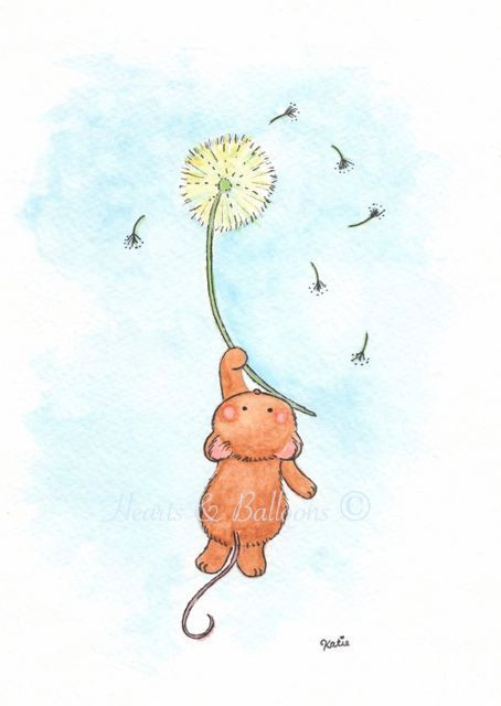 Mouse and dandelion nursery art