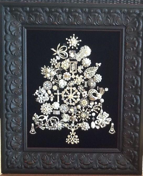 Vintage Jewelry Christmas Tree |white on black| eBay