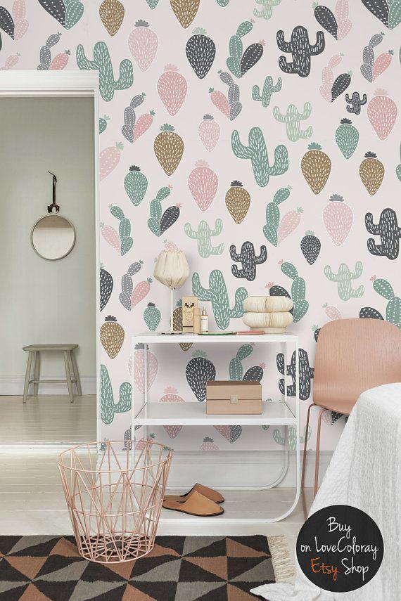 Papel pintado Removible Cactus | Mural de pared de acuarela - pégalo & despégalo #5