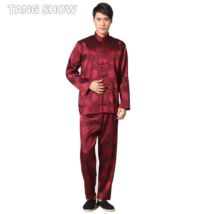 Spring Autumn Long Sleeve Dragon Kung Fu Suit Chinese Men's Satin Tai Chi  Uniform Size S M L XL XXL XXXL M0049-2