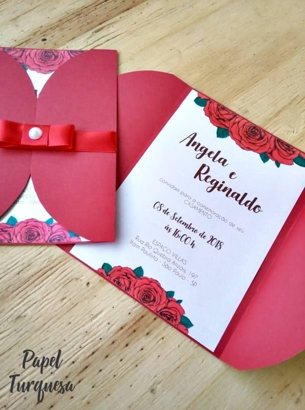 ad2728c9c65 Convite de Casamento Vermelho 15x20cm Luva em papel colorplus vermelho  fosco sem impressão 180g Interno em