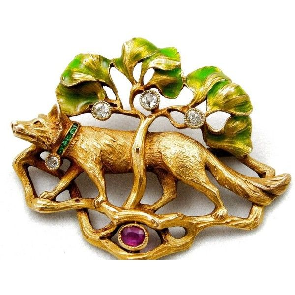 trocadero.com - Terrific Art Nouveau 18k FOX Pin, Gems