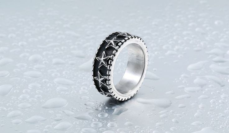 Solid Pattern Stainless Steel Party Wear Casual Ring For Men Jex247