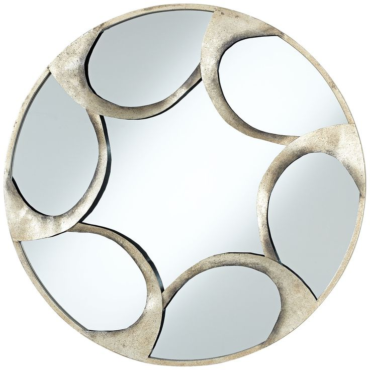"""Vento Antique Silver Finish 30"""" Wide Round Wall Mirror - EuroStyleLighting.com"""