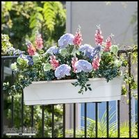 Lightweight Railing Planter Boxes with Artificial Flowers - Inexpensive Option for Renters and Beginning Gardeners