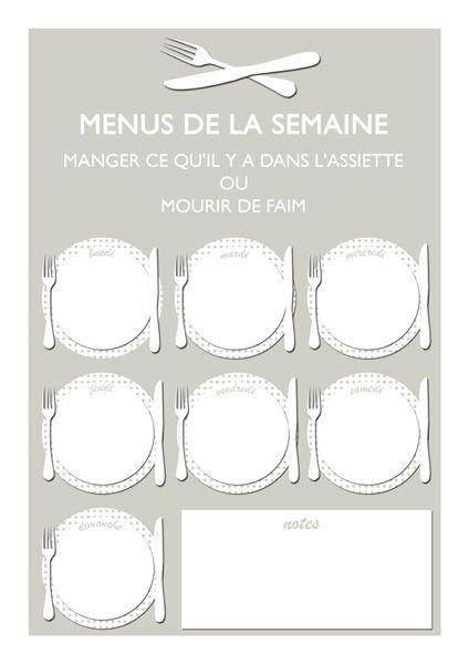 Planning hebdomadaire des menus à imprimer   Lady Bidouille (en version effaçable ou non)