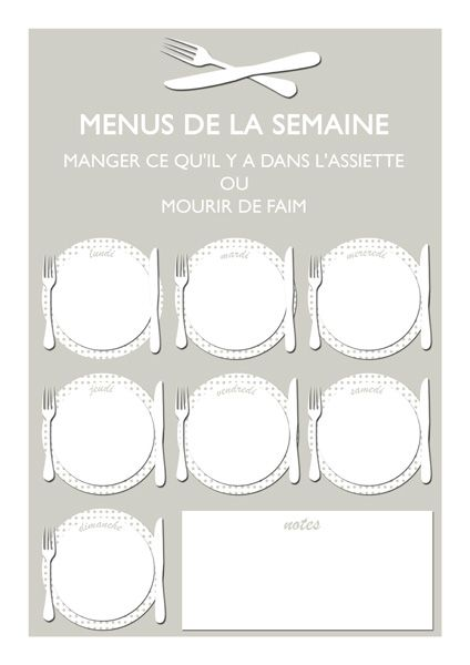 Planning hebdomadaire des menus à imprimer | Lady Bidouille (en version effaçable ou non)