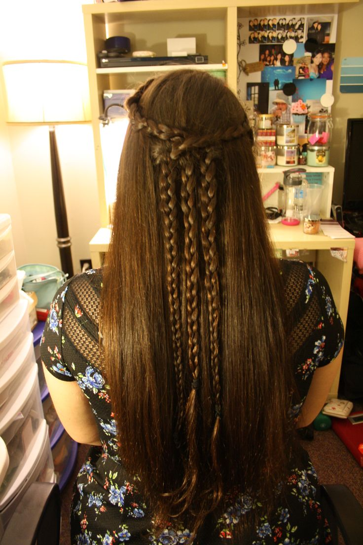 Half-up braided  (Two braids wrapping around to the other side of the head and adding additional hair at the back, then adding a third braid in the middle from hair under the two crossed over braids)