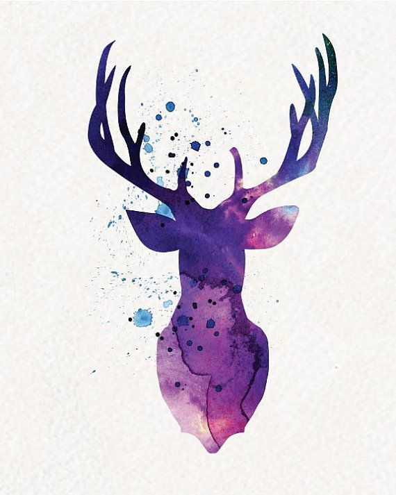 Purple Deer Watercolor Painting Wall Art Von Water Art Deer