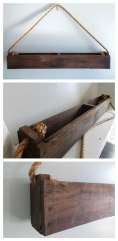 A nice idea of hanging planter made from recycled pallets that could be used as herb box or flower planter depending on where you hang it. Perfect for decoration in an outdoor terrace or kitchen. Simple and nice!…