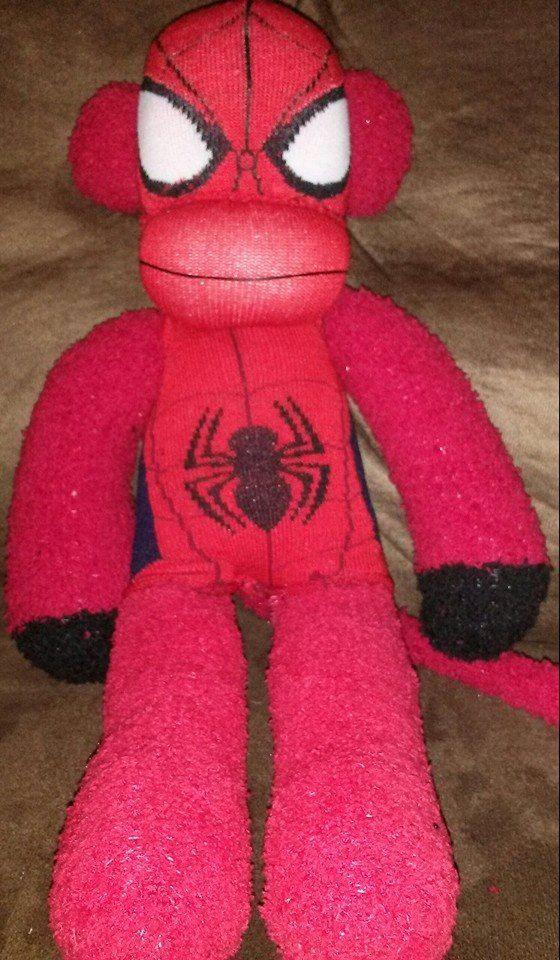Spiderman Sock Monkey Handmade by punkimunki on Etsy