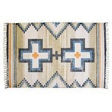 "Vloerkleed katoen print kruizen blauw zwart naturel 180x120cm, ""printed rug native crosses"""