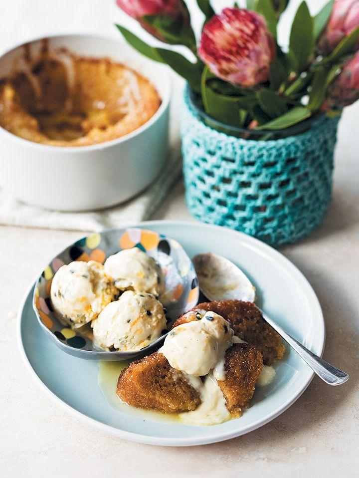 Malva pudding with granadilla ice cream