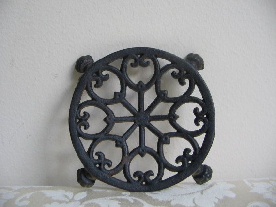 Vintage Cast Iron Footed Trivet By John Wright, Black Goth