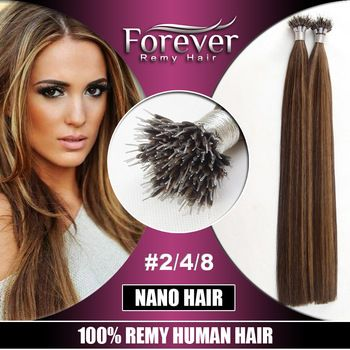 Forever wholesale christmas hair extension , premium 100% human nano ring remy hair extensions 6a