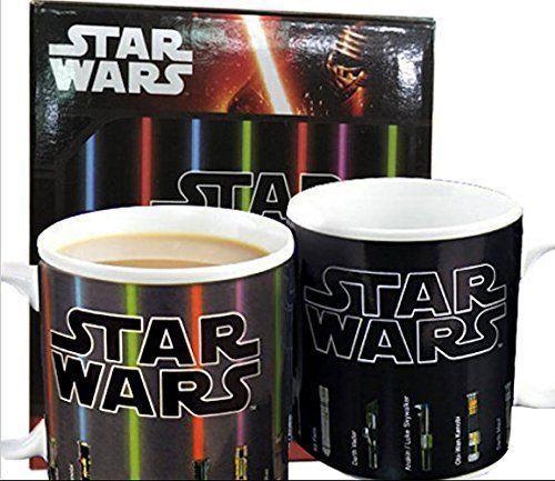 The Star Wars Lightsaber Heat Sensitive Color Changing Ceramic Coffee Mug contains Lightsabers of Obi-Wan Kenobi, Yoda, Asajj Ventress, Mace Windu, Luke Skywalker, Qui-Gon Jinn, Kit Fisto, Darth Vader, Anakin Skywalker, Darth Maul and Count Dooku