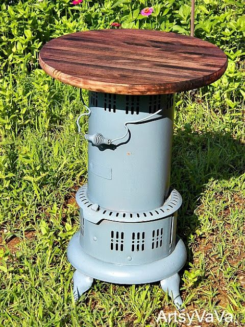Vintage Kerosene Heater Table