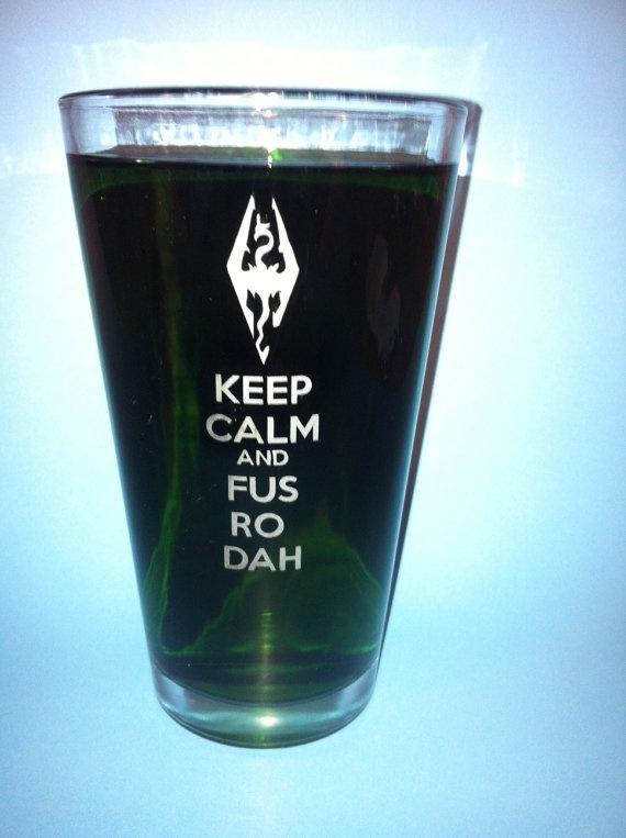 Skyrim Fus Ro Dah Pint Glass by WhupGlass on Etsy, $12.00