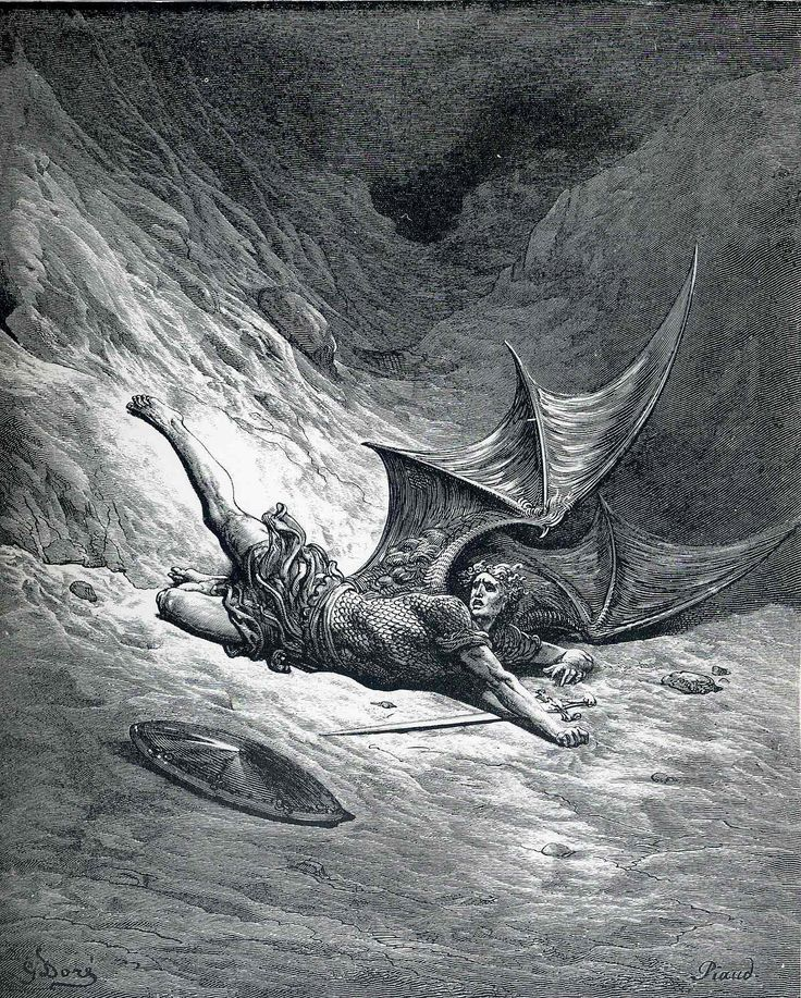 """Satan was cast down by God into the pit of Hell. """"Then Satan first knew pain, and writhed him to and fro."""""""