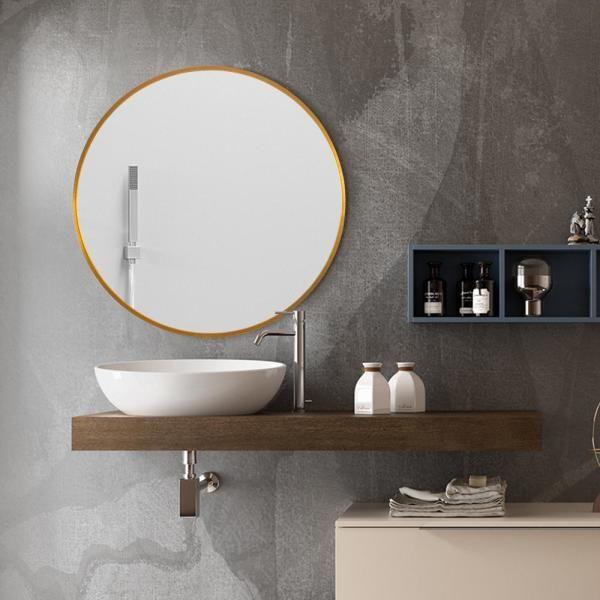 Neu Type Medium Round Gold Shelves Drawers Modern Mirror 32 In H X 32 In W Jj00374zzen 1 The Home Depot In 2020 Modern Mirror Mirror Bathroom Vanity Mirror