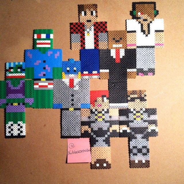 Minecraft YouTubers Made Out of Perler Beads by xxBlackxOrchidxx.deviantart.com on @DeviantArt