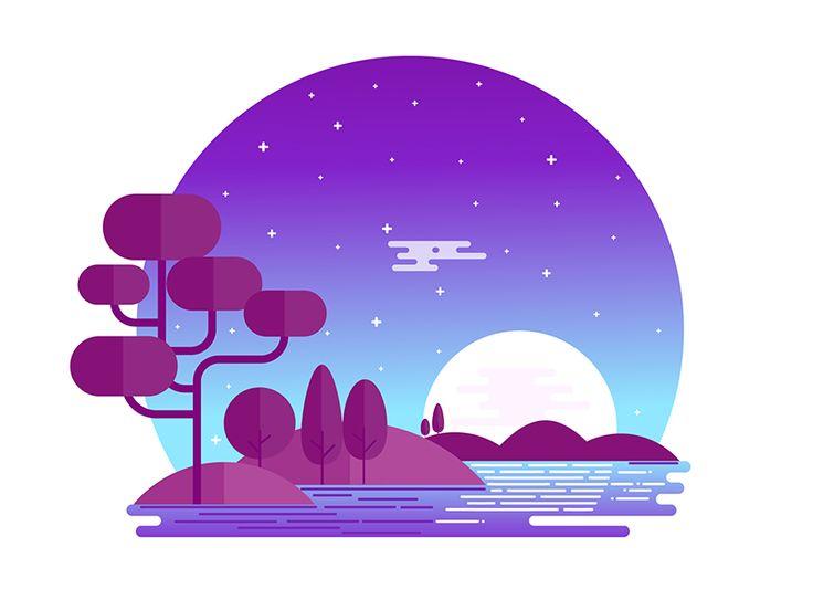 Midnight Landscape by Hemanta #Design Popular #Dribbble #shots