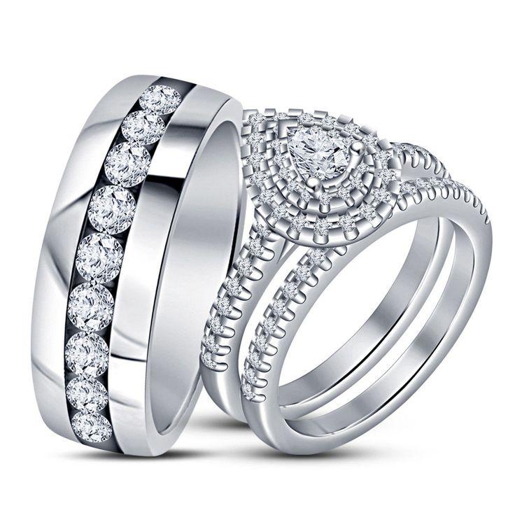 14k white gold 210 ct pear cut dvvs1 engagement bridal wedding ring trio set - Wedding Ring Trio Sets