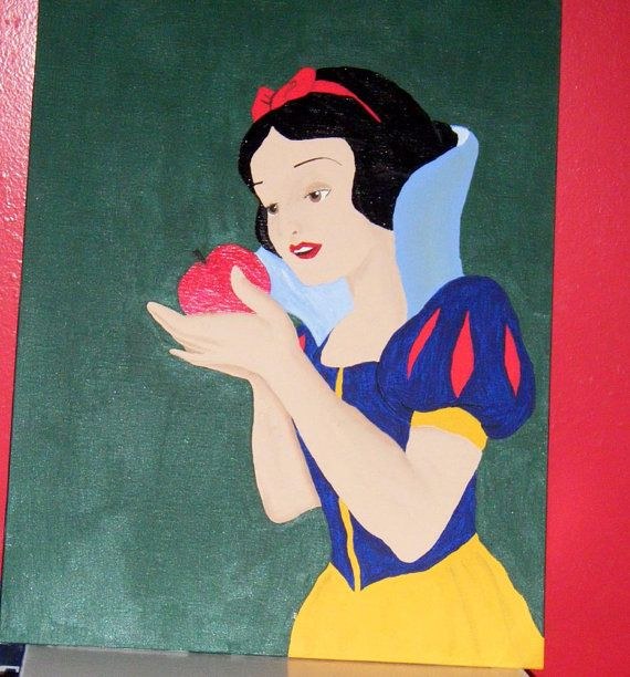 Disney Princess Snow White 12x16 Canvas Panel Painting By 21CannonSalute 2499