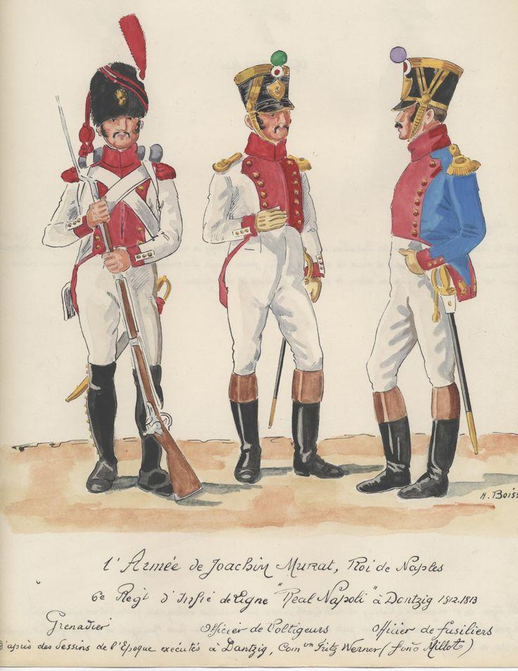 Granatiere, ufficiale dei volteggiatori e ufficiale dei fucilieri del  8 rgt. della fanteria di linea