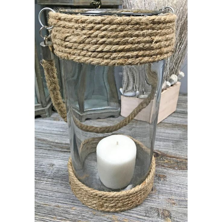 Jute Rope Glass Large Round Candle Holder in 2019 | Decor