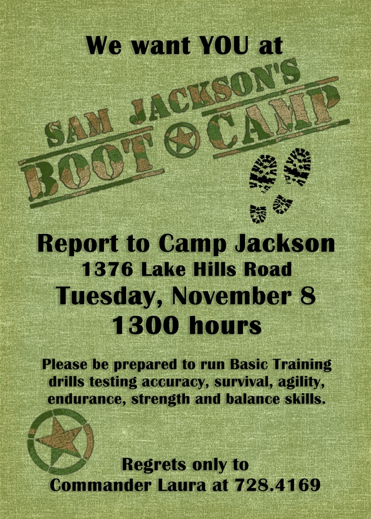 boot camp party invitation