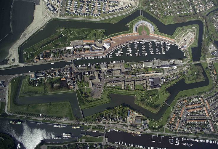 Aerial view of Marina of Hellevoetsluis, Zuid Holland, Netherlands