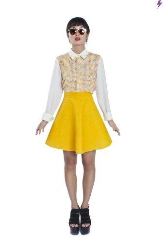 "[ Papingo Maminga SS15: ""Emoji Attack"" Shirt & Yellow Trumpet Skirt  //  Camisa ""Emoji Attack"" & Falda Trompeta Amarilla ] #papingomaminga #emoji #colorblock #yellow #girl #woman #fashion #trend #skirt #trumpetskirt #shirt"