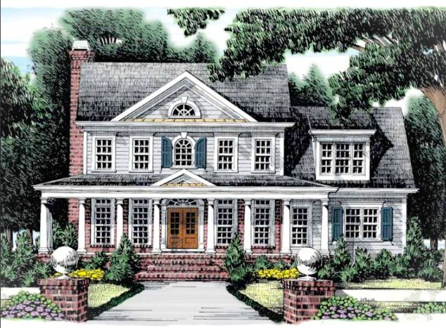 Brick colonial house with porch picture bing images for Colonial house plans with porch