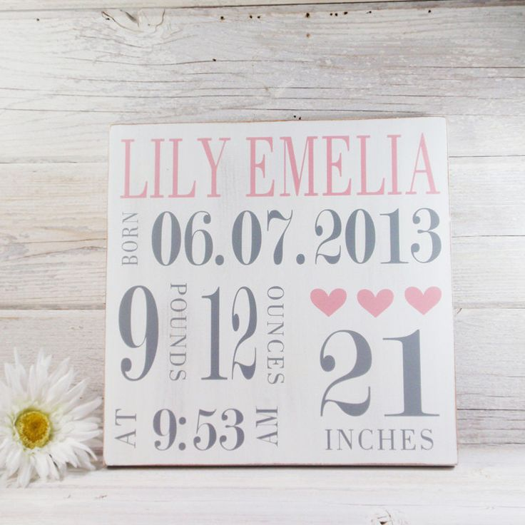 Wood Hand Painted Birth Announcement Sign- Baby Girl Birth Art- Baby Subway Art- Nursery Subway Art- Country Nursery Decor by LilyAndLiamBoutique on Etsy