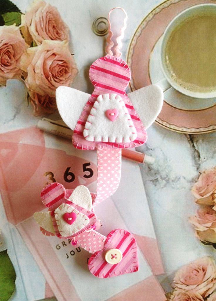 Felt and cotton fabric pink striped angel Hair Clip holder- Hair Clip Organizer, Hair Clip Bow Holder, Barette Holder, angel Nursery Decor by Tinkach on Etsy
