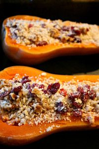 Christmas Dinner Recipe: Twice-Baked Butternut Squash with Cashew Cheese, Walnuts and Cranberries - The Vegan Word