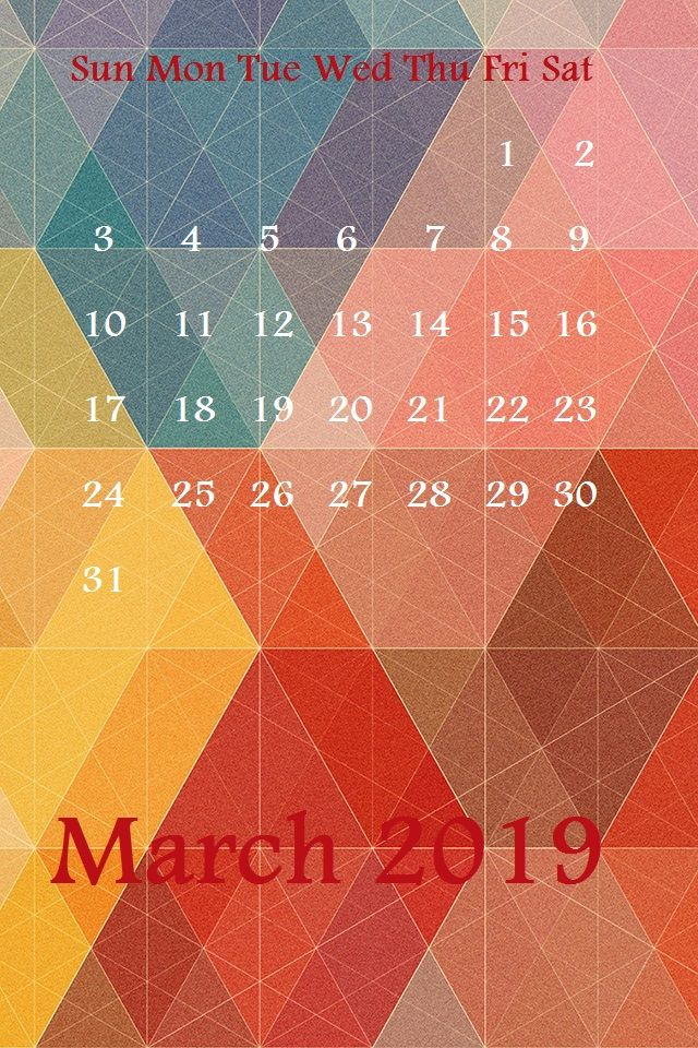Free March 2019 iphone Screensaver Calendar WAllpapers Monthly