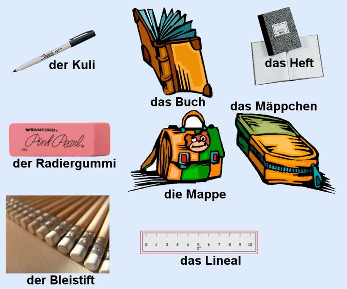 Die Lineale, die Radiergummis, die Bücher, die Kugelschreiber, die Bleistifte, die Mappen, die Mäppchen plural