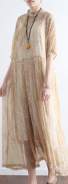 nude stylish print silk dresses plus size casual sundress Chinese Button half sleeve maxi dress